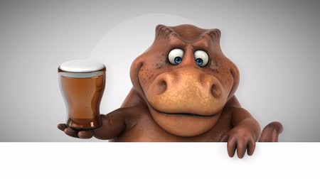 dino : Cartoon dinosaur holding a glass of beer