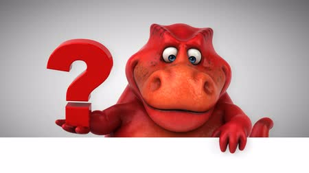 perguntando : Cartoon dinosaur holding a question mark