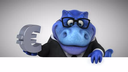 entellektüel : Cartoon dinosaur holding Euro currency symbol Stok Video