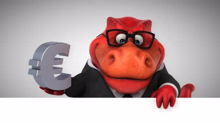 extinto : Cartoon dinosaur holding Euro currency symbol Stock Footage