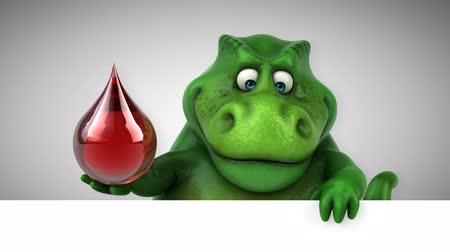 ilkel : Cartoon dinosaur holding a blood droplet Stok Video
