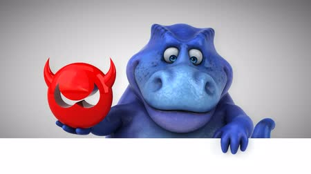 dinosaur : Cartoon dinosaur holding a devil icon Stock Footage