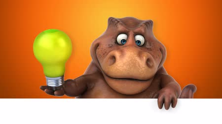 extinct species : Cartoon dinosaur holding a lightbulb