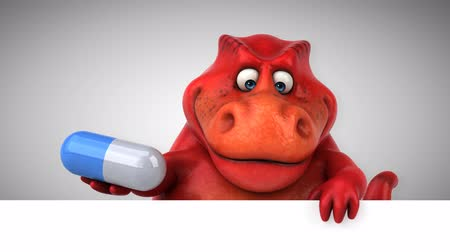 extinto : Cartoon dinosaur holding a pill