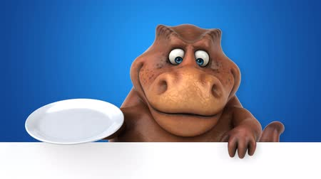 dino : Cartoon dinosaur holding an empty plate