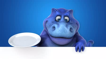 extinct species : Cartoon dinosaur holding an empty plate