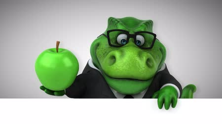 dino : Cartoon dinosaur holding an apple