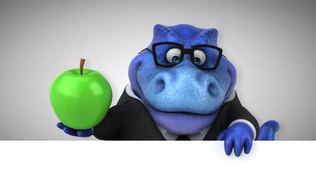 intelecto : Cartoon dinosaur holding an apple