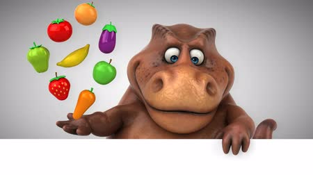veggie : Cartoon dinosaur holding fruits and vegetables