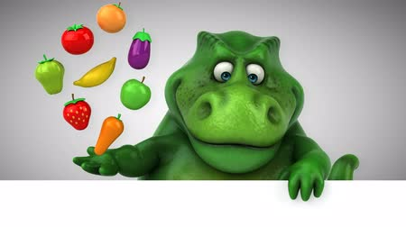 extinct species : Cartoon dinosaur holding fruits and vegetables