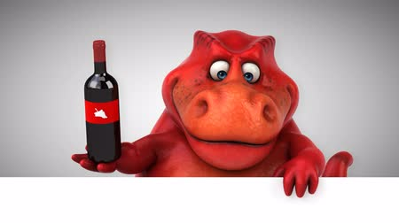 extinct species : Cartoon dinosaur holding a bottle of wine Stock Footage