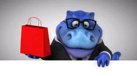 dino : Cartoon tyrannosaur in a suit with shopping bag Stock Footage
