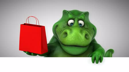 dino : Cartoon tyrannosaur with shopping bag