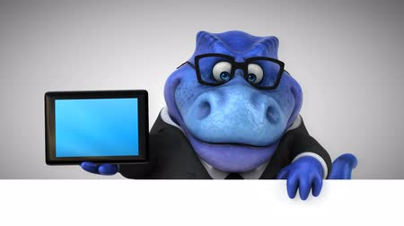 extinct species : Cartoon tyrannosaur in a suit with digital tablet