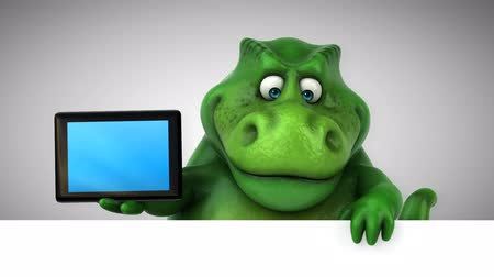 extinct species : Cartoon tyrannosaur with digital tablet
