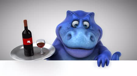 extinct species : Cartoon tyrannosaur with wine bottle and glass