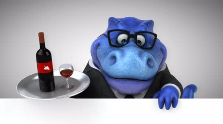 extinct species : Cartoon tyrannosaur in a suit with wine bottle and glass Stock Footage