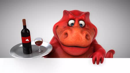 dinosaur : Cartoon tyrannosaur with wine bottle and glass