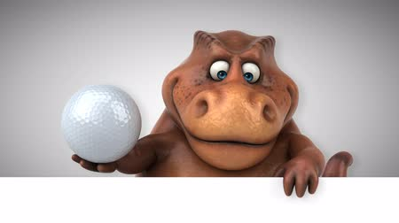 dinosaurus : Cartoon tyrannosaur with a golf ball