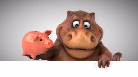 dinosaurus : Cartoon tyrannosaur with piggy bank
