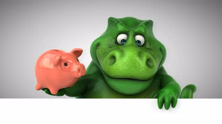 ilkel : Cartoon tyrannosaur with piggy bank