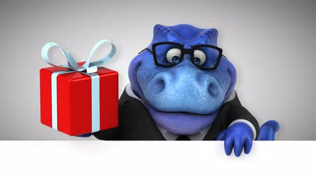 dinosaurus : Cartoon tyrannosaur in a suit with a gift box