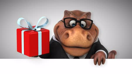 dino : Cartoon tyrannosaur in a suit with a gift box