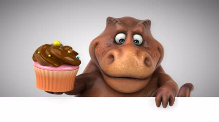 dinosaur : Cartoon tyrannosaur with a cupcake Stock Footage