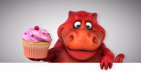 dino : Cartoon tyrannosaur with a cupcake Stock Footage
