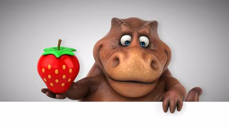 dinosaurus : Cartoon tyrannosaur with a strawberry
