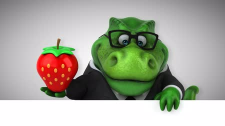 dino : Cartoon tyrannosaur in a suit with a strawberry