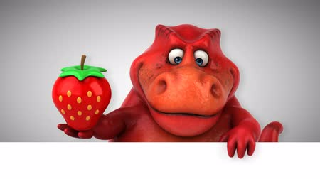dinosaur : Cartoon tyrannosaur with a strawberry