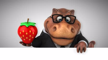 extinto : Cartoon tyrannosaur in a suit with a strawberry