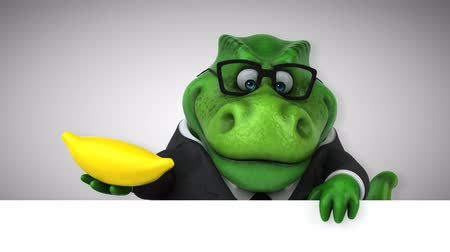 extinct species : Cartoon tyrannosaur in a suit with a banana
