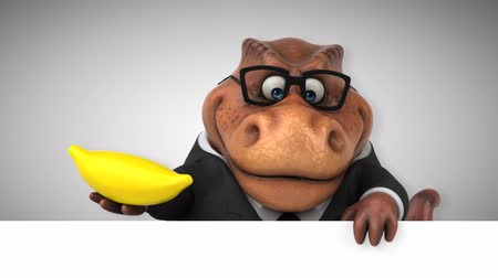 extinto : Cartoon tyrannosaur in a suit with a banana