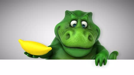 dino : Cartoon tyrannosaur with a banana Stock Footage