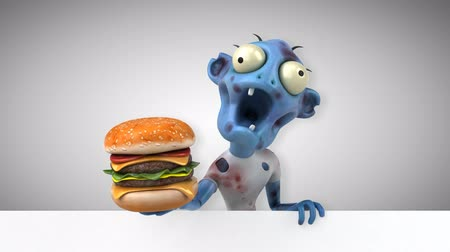 zombi : Cartoon zombie with hamburger Stok Video