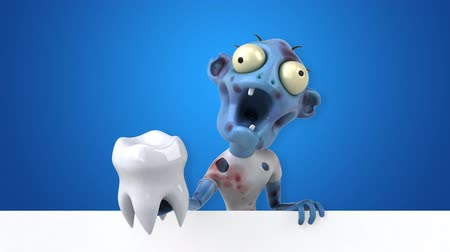 hátborzongató : Cartoon zombie with a tooth