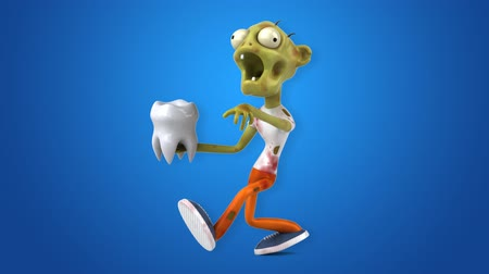 кальций : Cartoon zombie with a tooth