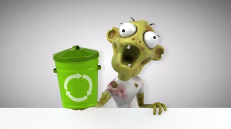 zombi : Cartoon zombie with recycle bin