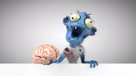 çürümüş : Cartoon zombie with a brain