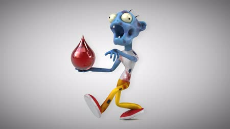 zombi : Cartoon zombie with blood droplet Stok Video