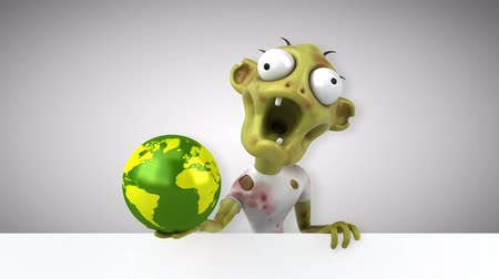rothadó : Cartoon zombie with earth globe