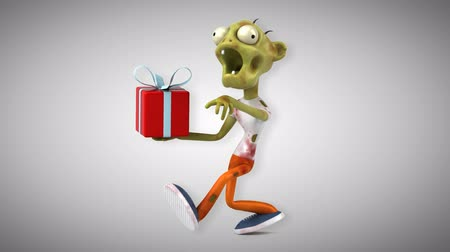 apodrecendo : Cartoon zombie with a gift box Stock Footage
