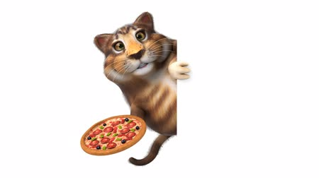 olivy : Cartoon cat holding a pizza and hide Dostupné videozáznamy