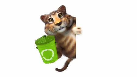 lixeira : Cartoon cat holding a recycle bin and hide Vídeos