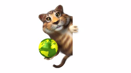 hiding : Cartoon cat holding a globe and hide