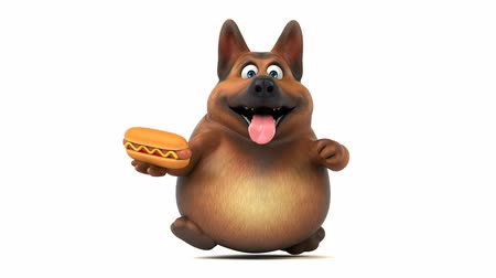 baharatlı alman sosisi : Cartoon dog running and holding a hotdog