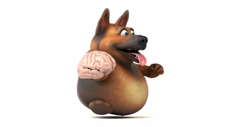 nervous : Cartoon dog running and holding a brain Stock Footage