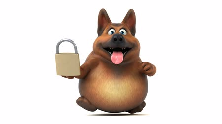 korumak : Cartoon dog running and holding a padlock